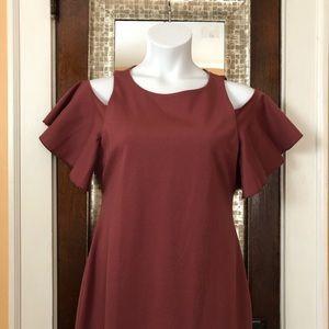Dresses - Cold shoulder flutter sleeve dress